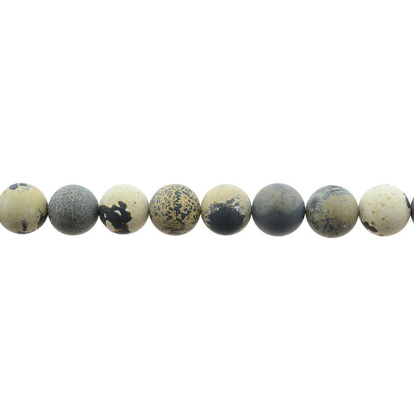 Yellow Artistic Jasper Round Frosted 10mm - Loose Beads