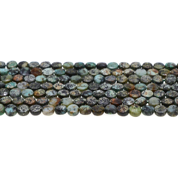 African Turquoise Coin Puff Faceted Diamond Cut 6mm x 6mm x 3mm - Loose Beads