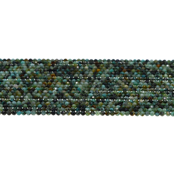 African Turquoise Round Faceted Diamond Cut 2mm - Loose Beads