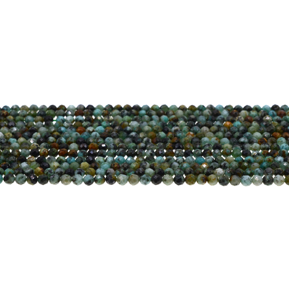 African Turquoise Round Faceted Diamond Cut 3mm - Loose Beads