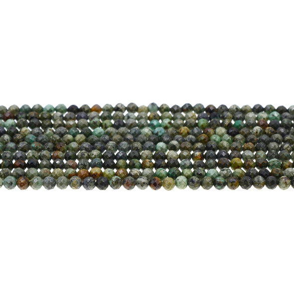 African Turquoise Round Faceted Diamond Cut 4mm - Loose Beads