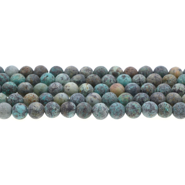 African Turquoise Round Frosted 8mm - Loose Beads