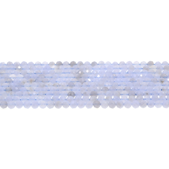 Blue Lace Agate Round Faceted Diamond Cut 4mm - Loose Beads
