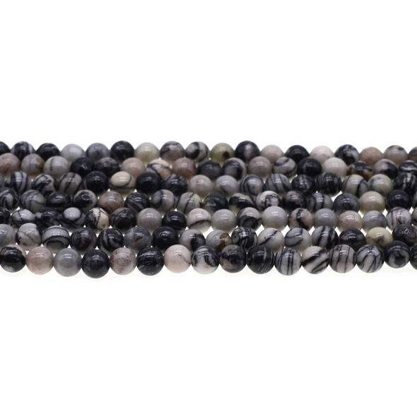 Black Line Jasper Round 6mm - Loose Beads