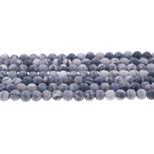 Black Line Jasper Round Frosted 6mm - Loose Beads