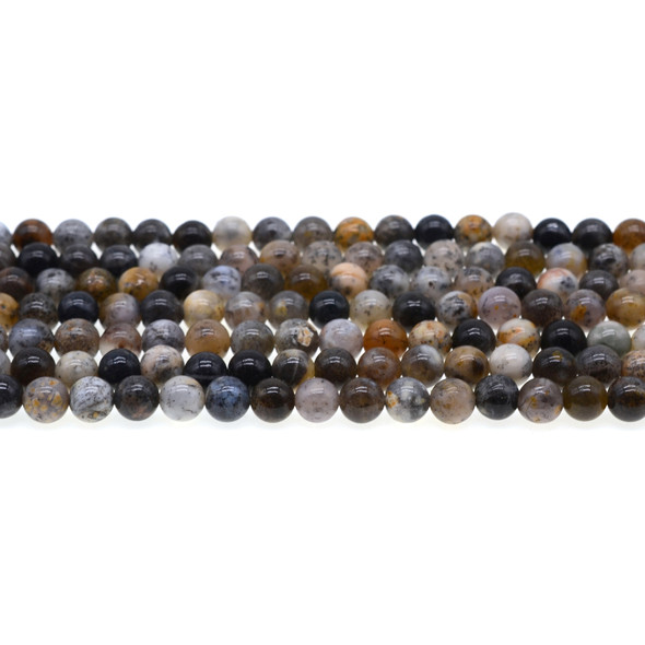 Black Moss Opal Round 6mm - Loose Beads