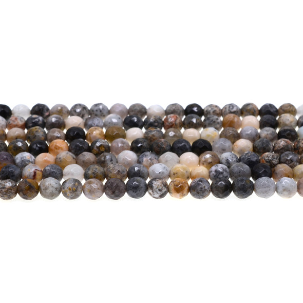 Black Moss Opal Round Faceted 6mm - Loose Beads