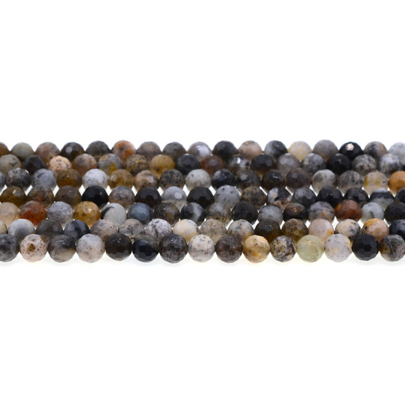 Black Moss Opal Round Faceted Diamond Cut 6mm - Loose Beads