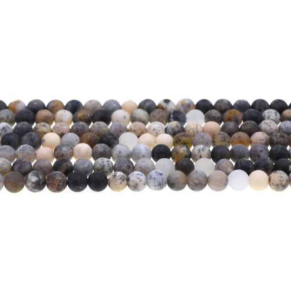 Black Moss Opal Round Frosted 6mm - Loose Beads