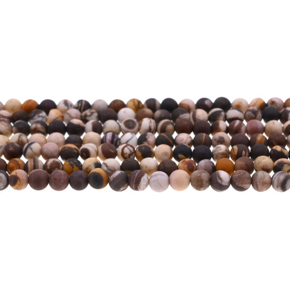 Brown Zebra Jasper Round Frosted 6mm -Loose Beads