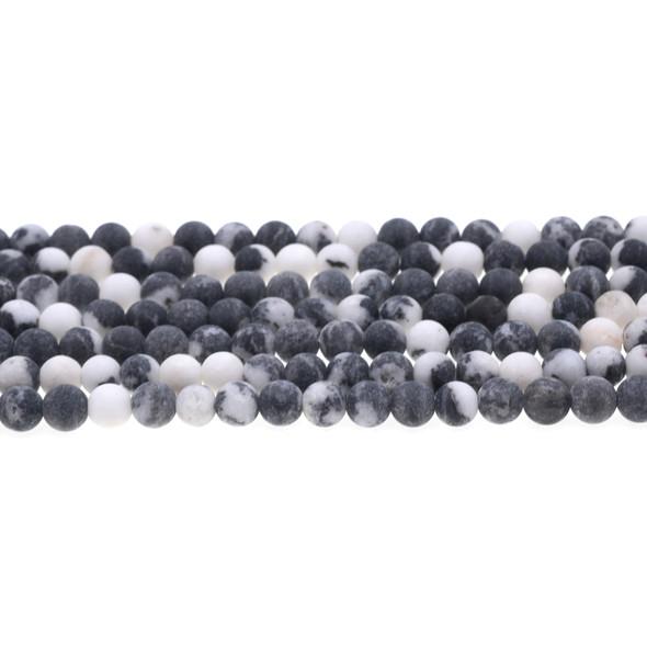 Black Zebra Jasper Round Frosted 6mm - Loose Beads