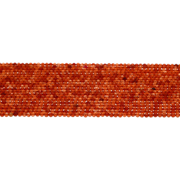 Carnelian - Red Round Faceted Diamond Cut 2mm - Loose Beads