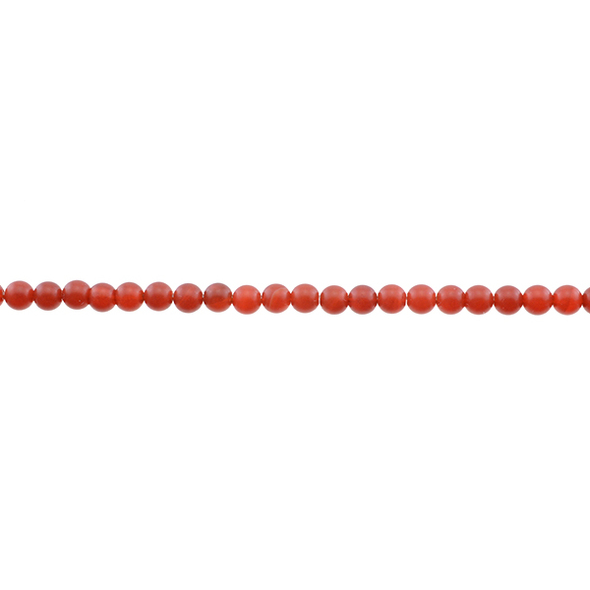 Carnelian - Red Round Frosted 4mm - Loose Beads