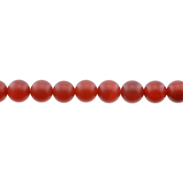 Carnelian - Red Round Frosted 10mm - Loose Beads
