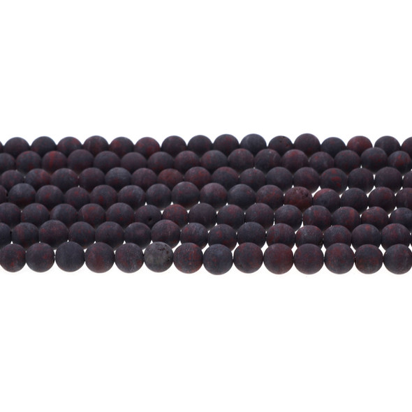 Natural Chinese Bloodstone Round Frosted 6mm - Loose Beads