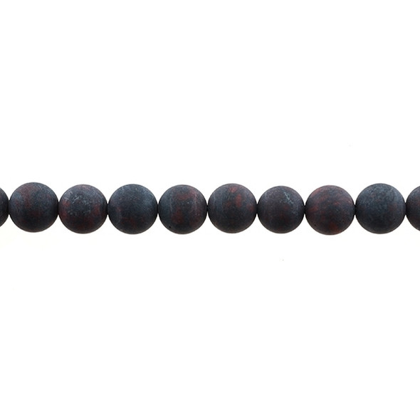 Natural Chinese Bloodstone Round Frosted 10mm - Loose Beads