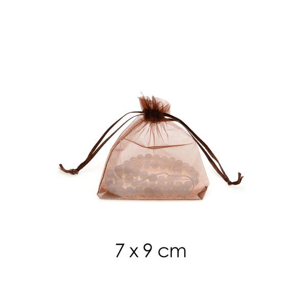 Organza Favor Fabric Bags 7x9cm - 100Pcs/Bundle - Brown