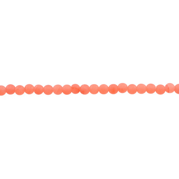 Papaya Jade Round Frosted 4mm - Loose Beads