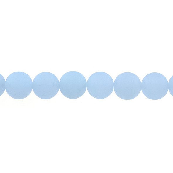Light Blue Jade Round Frosted 12mm - Loose Beads