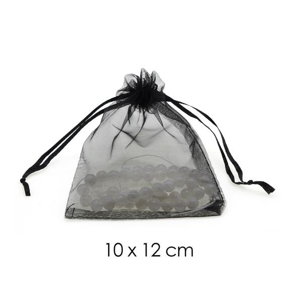 Organza Favor Fabric Bags 10x12cm - 100Pcs/Bundle - Black