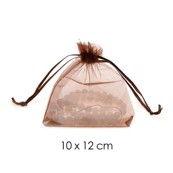 Organza Favor Fabric Bags 10x12cm - 100Pcs/Bundle - Brown