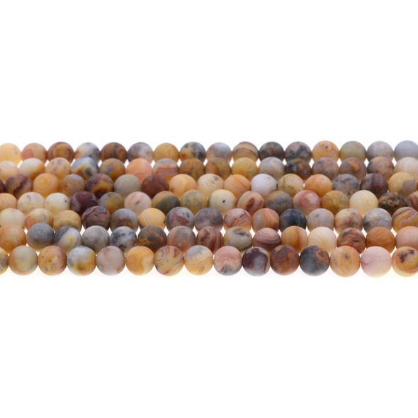 Crazy Lace Agate Round Frosted 6mm - Loose Beads