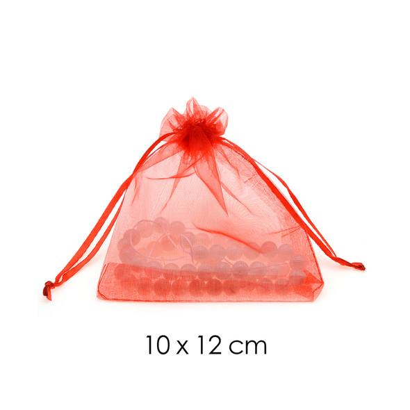 Organza Favor Fabric Bags 10x12cm - 100Pcs/Bundle - Red