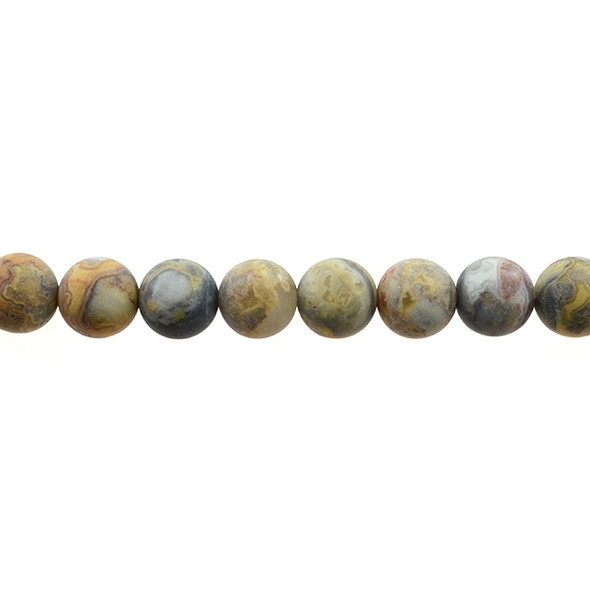 Crazy Lace Agate Round Frosted 12mm - Loose Beads