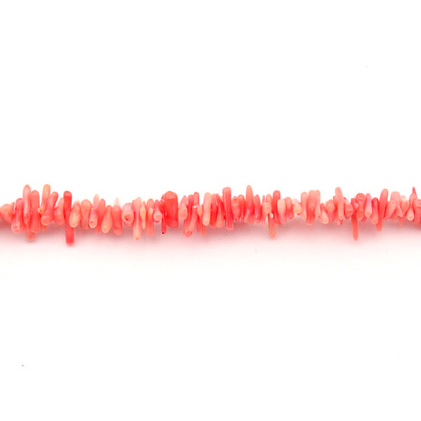 Coral Bamboo (Light Red) Branch Thin 8mm x 3mm x 2mm - Loose Beads
