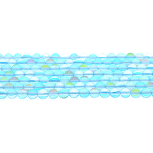 Aqua Synthetic Moonstone Neon Crystal Round 6mm - Loose Beads