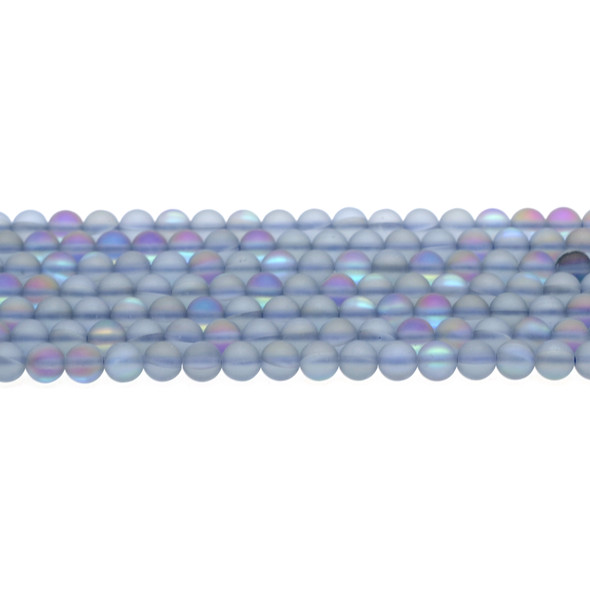 Blue Synthetic Moonstone Neon Crystal Round Frosted 6mm - Loose Beads