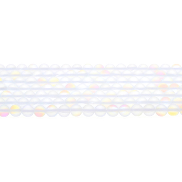 Synthetic Moonstone Neon Crystal Round Frosted 6mm - Loose Beads