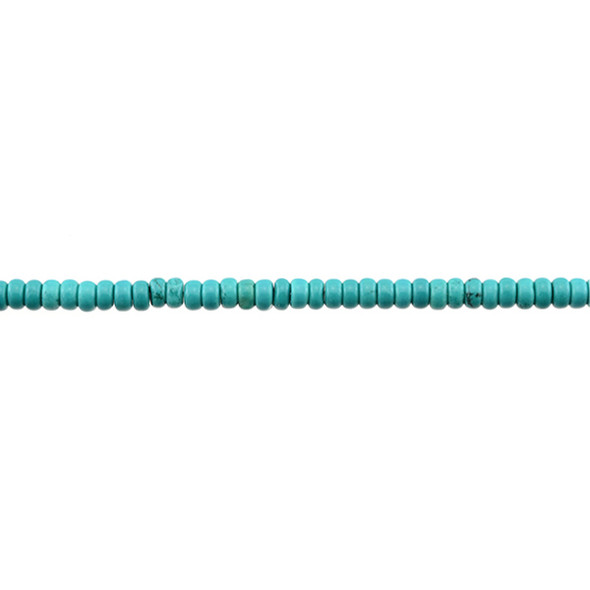 Chinese Turquoise Rondel 4mm x 4mm x 2mm - Loose Beads