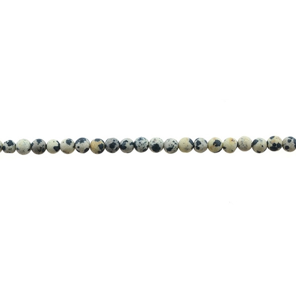 Dalmatian Jasper Round Frosted 4mm - Loose Beads