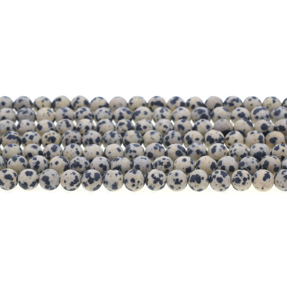 Dalmatian Jasper Round Frosted 6mm - Loose Beads