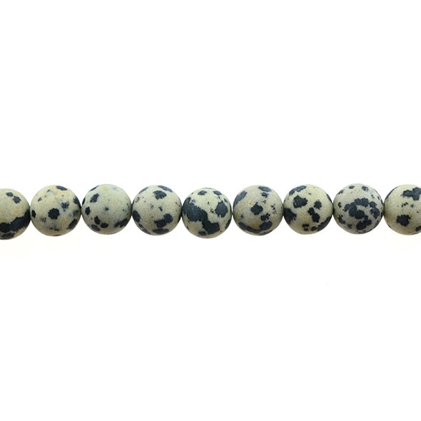 Dalmatian Jasper Round Frosted 10mm - Loose Beads