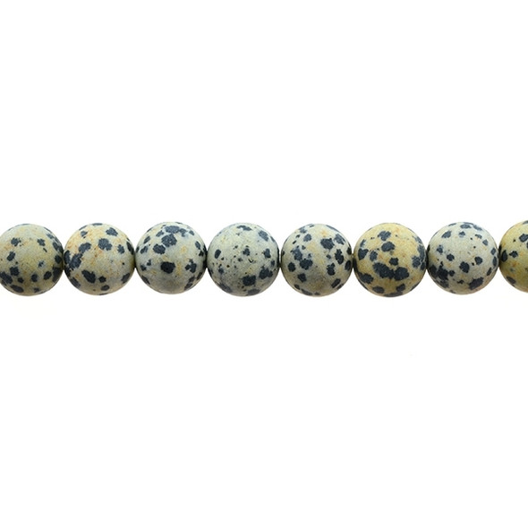 Dalmatian Jasper Round Frosted 12mm - Loose Beads