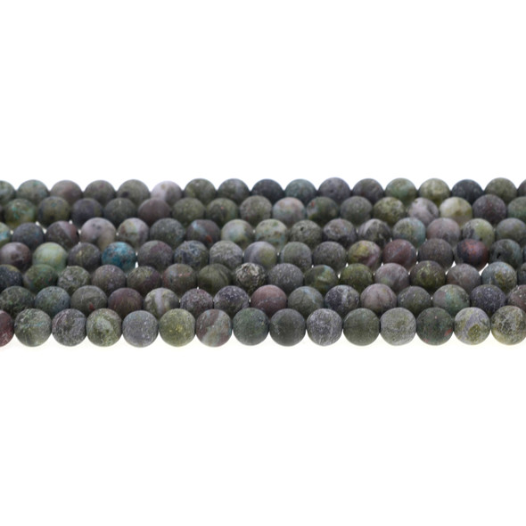 Dragon Blood Stone Jasper Round Frosted 6mm - Loose Beads