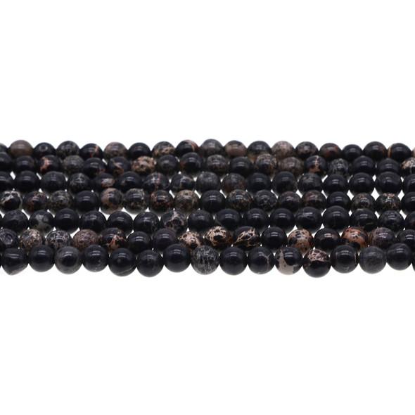 Black Emperor Stone Jasper Round 6mm - Loose Beads