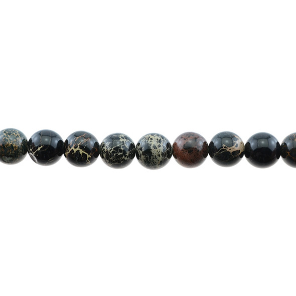 Black Emperor Stone Jasper Round 10mm - Loose Beads