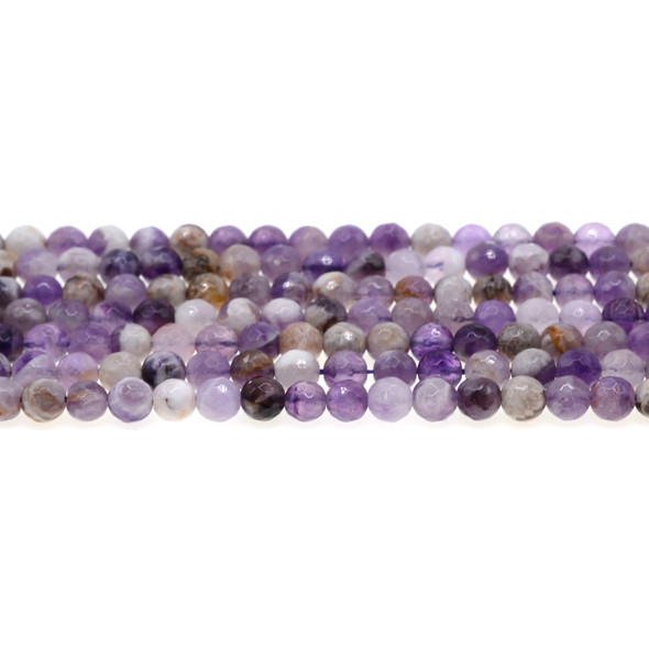 Flower Amethyst Round Faceted 6mm - Loose Beads