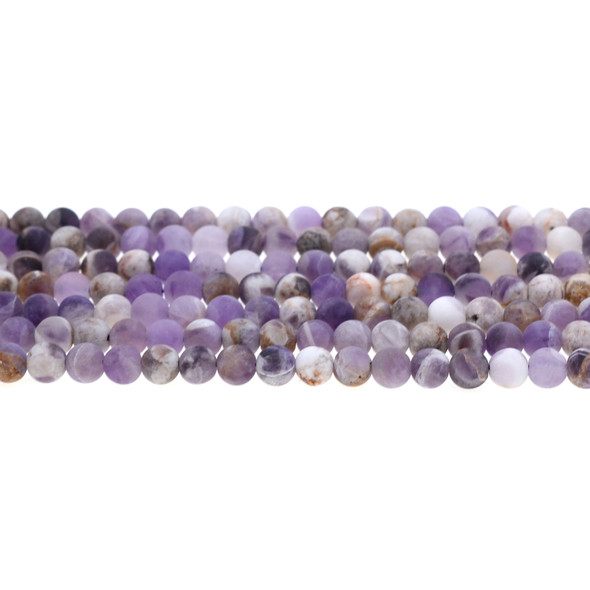 Flower Amethyst Round Frosted 6mm - Loose Beads