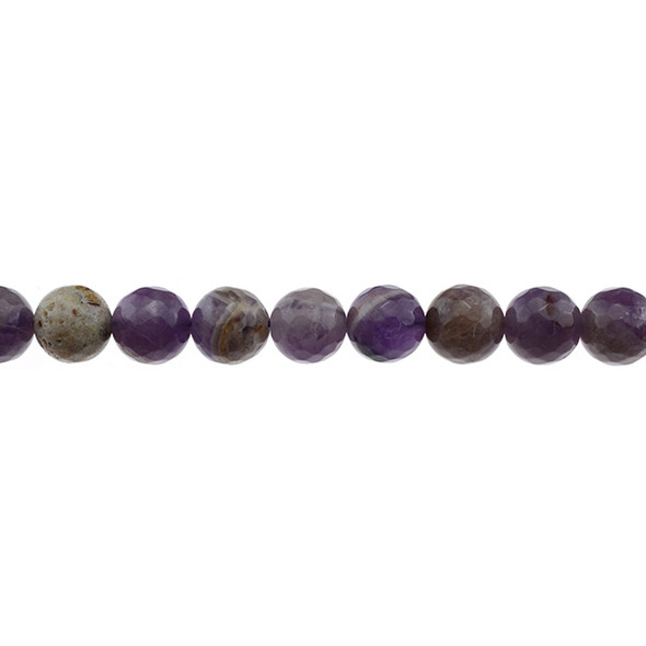 Flower Amethyst Round Faceted 10mm - Loose Beads