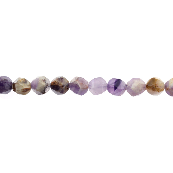 Flower Amethyst Round Large Cut 10mm - Loose Beads