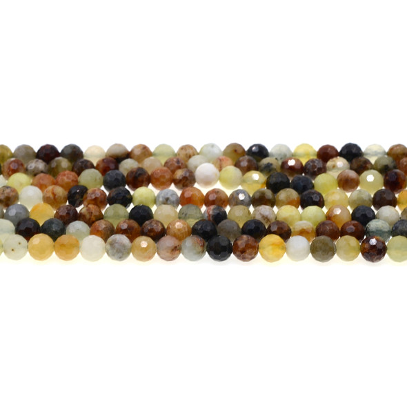 Fire New Jade Serpentine Round Faceted Diamond Cut 6mm - Loose Beads
