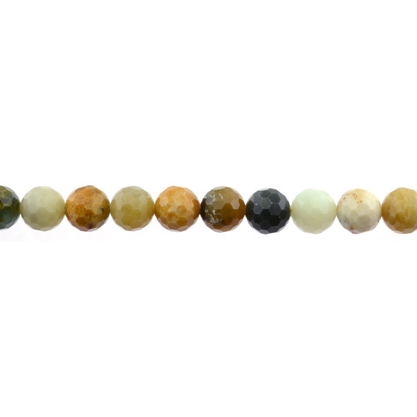 Fire New Jade Serpentine Round Faceted Diamond Cut 10mm - Loose Beads