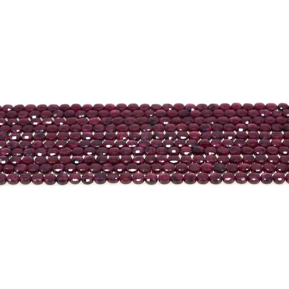 Garnet Coin Puff Faceted Diamond Cut 4mm x 4mm x 2mm - Loose Beads