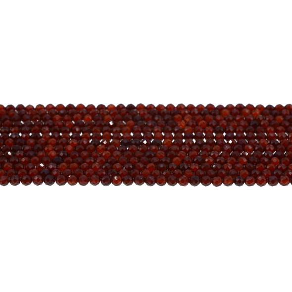 Garnet Round Faceted Diamond Cut 3mm - Loose Beads