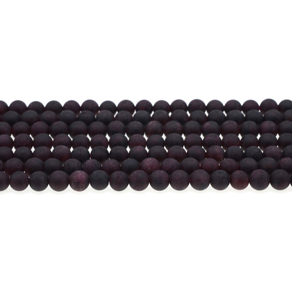Garnet Round Frosted 6mm - Loose Beads