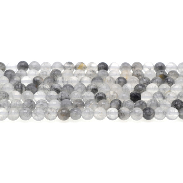 Grey Cloudy Quartz Round 6mm - Loose Beads